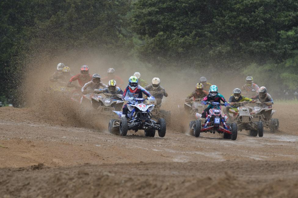 The AMA Pro racers noticed quite a different track for their second moto. However, the mud didn't stop Wienen as he claimed both holeshots today.Photo: Ken Hill