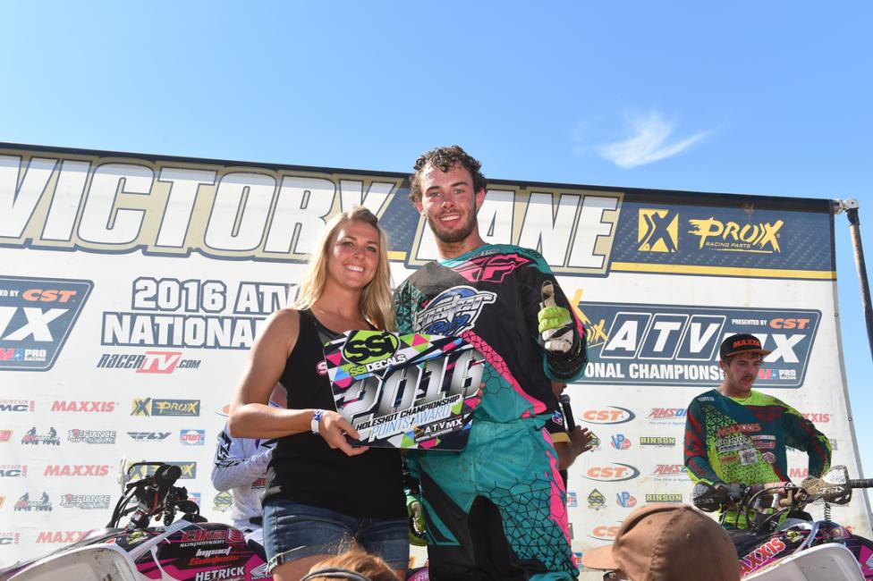 Brett Musick earned the SSi Decals Holeshot Award in the second Moto.Photo: Ken Hill