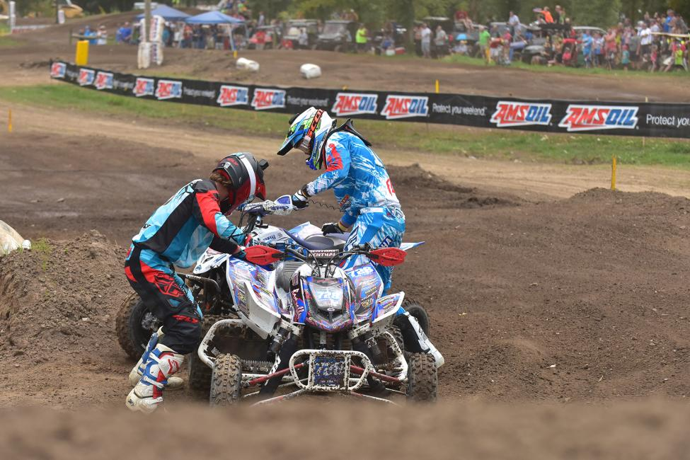 Jeffrey Rastrelli and Chad Wienen found themselves in an unfavorableposition as soon as the gate dropped on Moto 1.Photo: Ken Hill