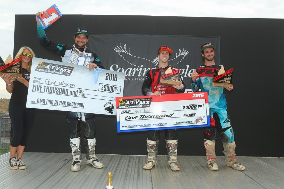 Overall Podium: (2) Chad Wienen, (1) Joel Hetrick, (3) Jeffrey Rastrelli.Photo: Harlen Foley