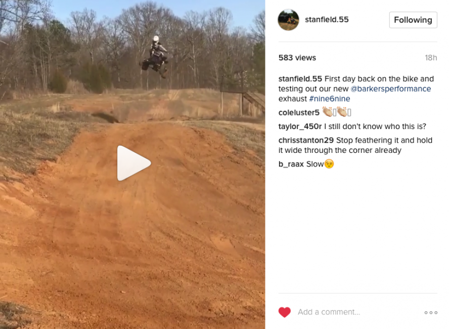 Looks like Stanfield is back on the bike and going to be able to start preparing himself for the upcoming season!