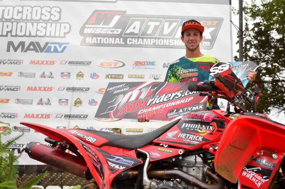 After taking home the ATVriders.com Top Qualifier Award, Joel Hetrick claimed the SSi Decals Holeshot Award for Moto 2, along with third overall.