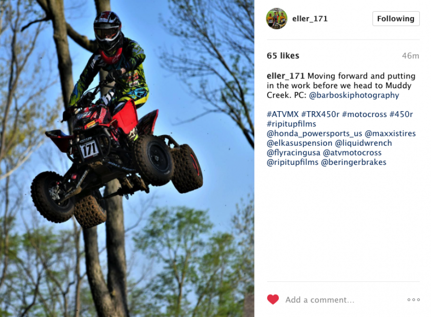 Eller looks to be putting in double-time before the Muddy Creek ATVMX National.