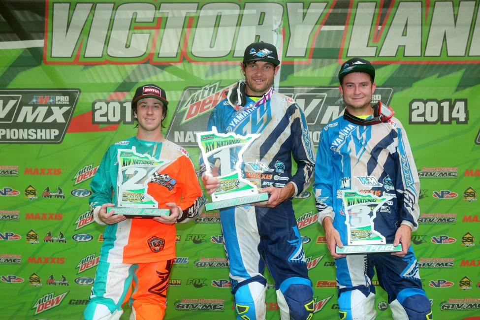 Chad Wienen (center), Joel Hetrick (left) and Thomas Brown (right) rounded out the Spring Creek ATV National podium