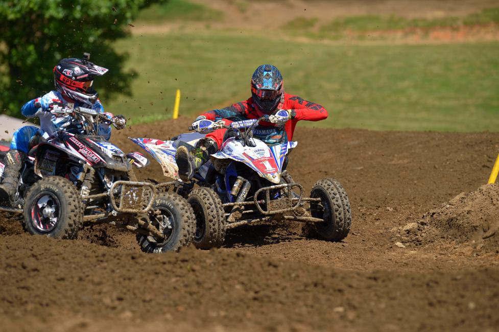 Chad Wienen (#1) and Josh Upperman (#20) battled it out during moto 2 at Muddy Creek Raceway.