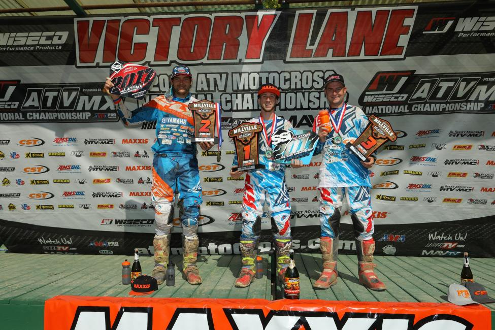 Overall Podium: (2) Chad Wienen, (1) Joel Hetrick, (3) Thomas Brown.