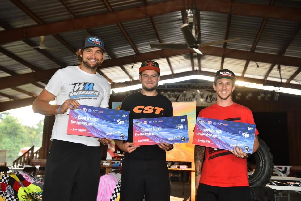 Chad Wienen, Thomas Brown and Joel Hetrick will represent the USA at the upcoming Quad Cross of European Nations.