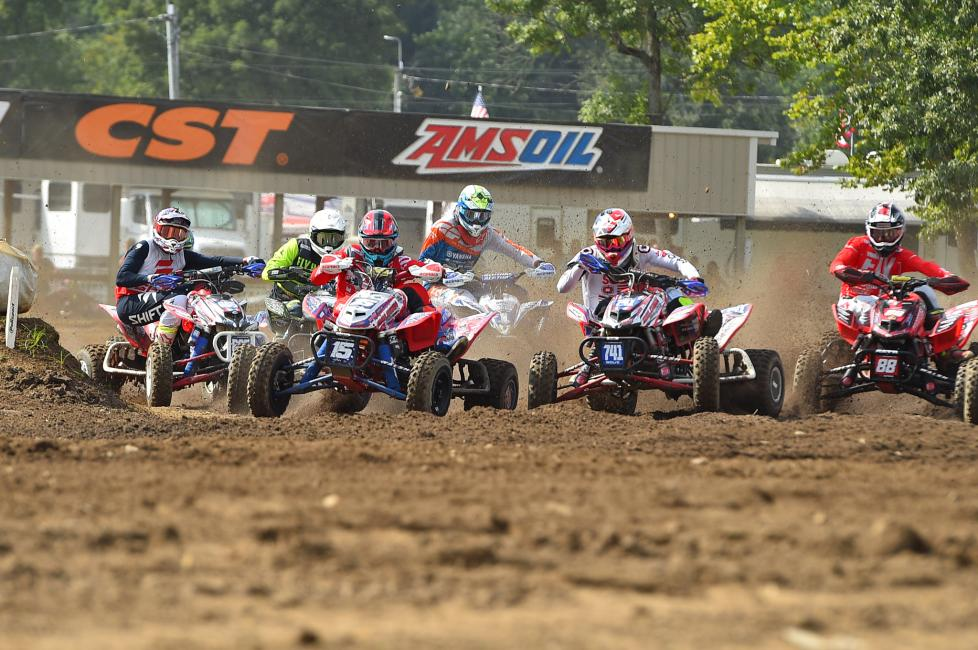 Nick Gennusa pulled the holeshot in moto 2 at Loretta Lynn's, leading the pack for the first lap.