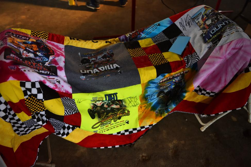 The infamous t-shirt blanket was up for bidding at the 88 Live to Ride Auction.