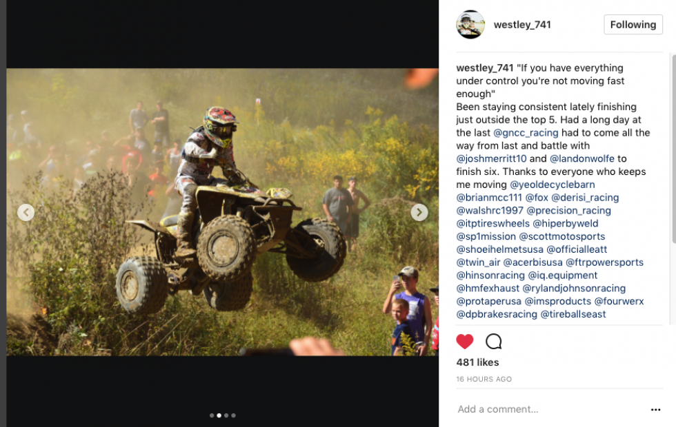 Westley Wolfe finishing out the GNCC season strong with one round to go.
