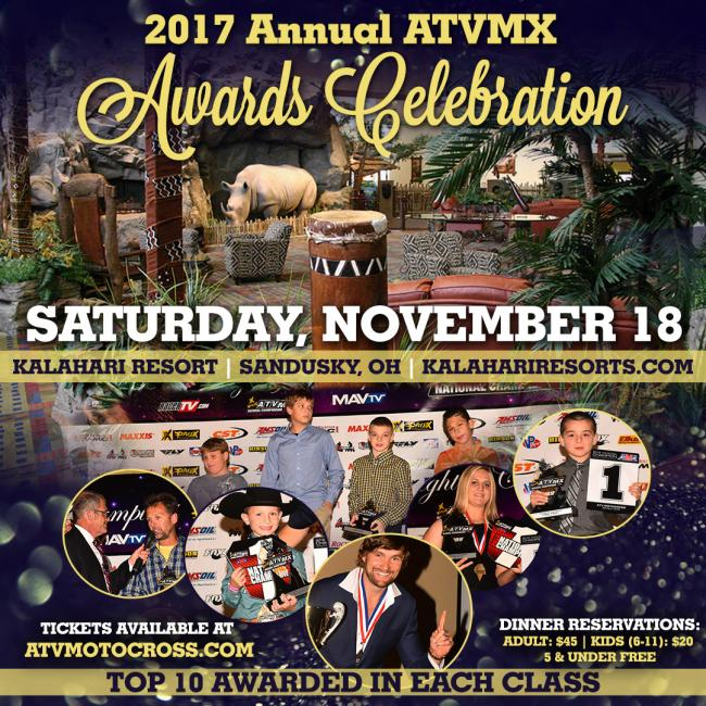 Don't miss out on the 2017 Annual ATVMX Awards Celebration coming up on Saturday, November 18 in Sandusky, Ohio!