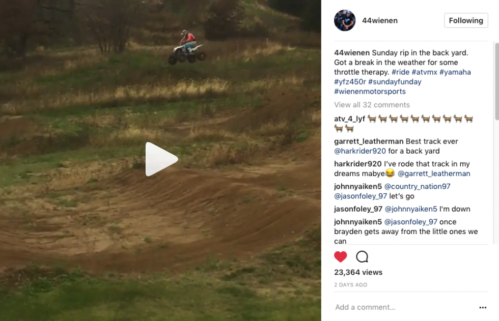 Chad Wienen has been getting some riding in.