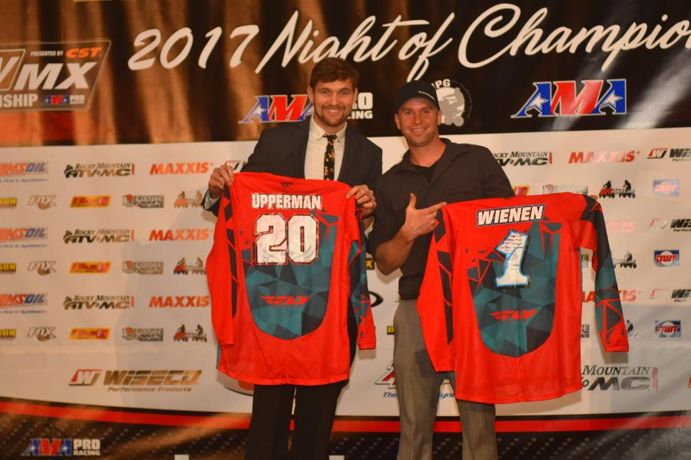 Chad Wienen and Josh Upperman swapped jersey's at the ATVMX Banquet over the weekend.