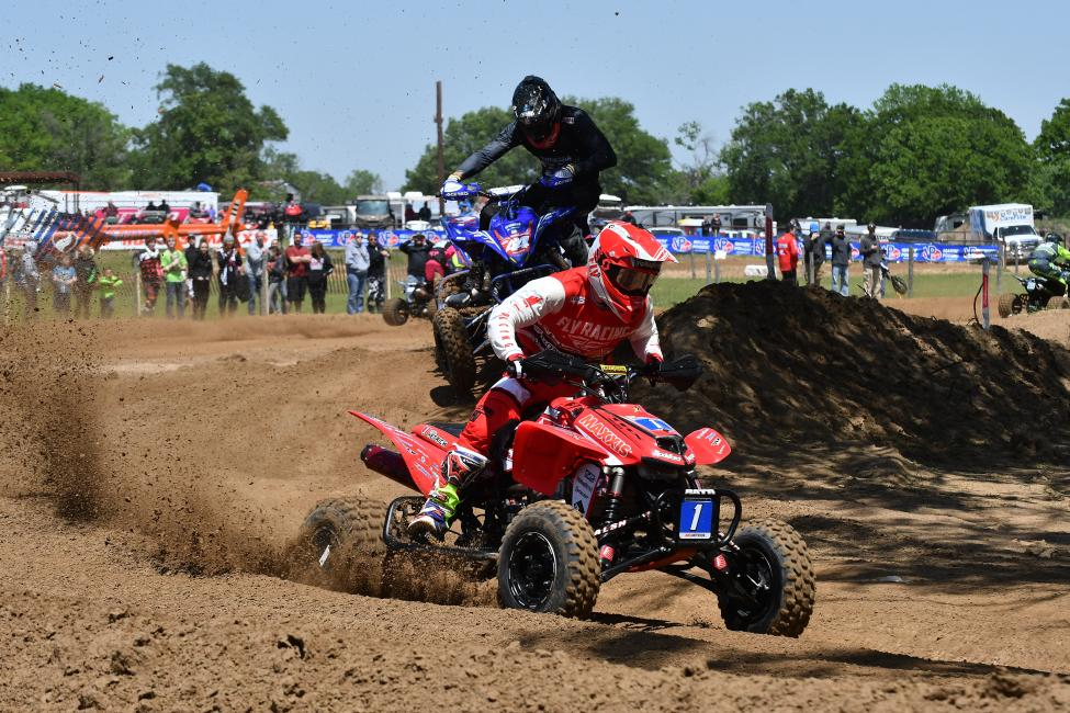 Joel Hetrick and Chad Wienen battling for the moto two win in Kemp, Texas.