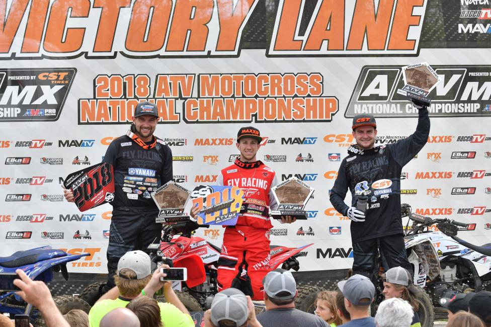 Joel Hetrick (center), Chad Wienen (left) and Thomas Brown (right) rounded out the podium at round four.