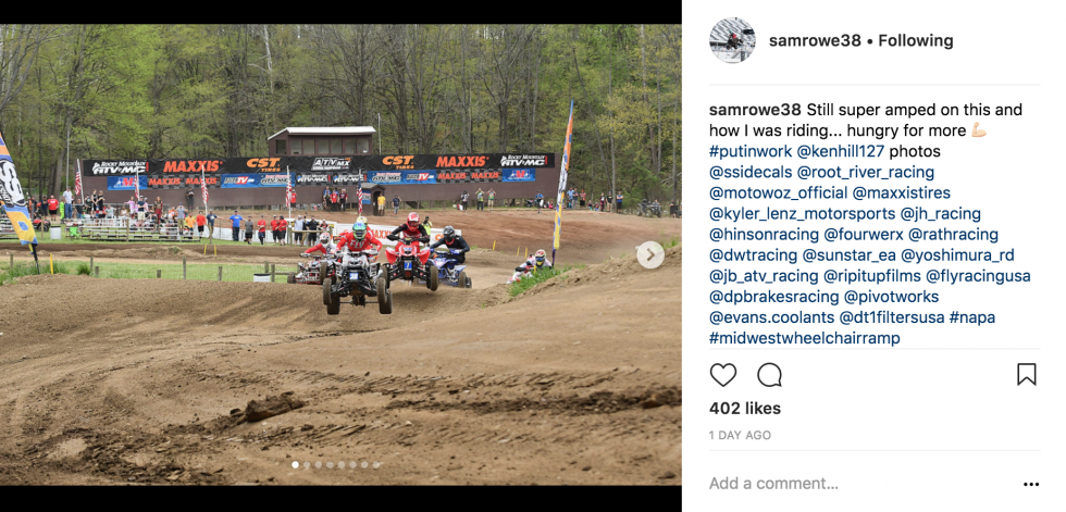 Congrats to Sam Rowe on his holeshot in AMA Pro moto 1.