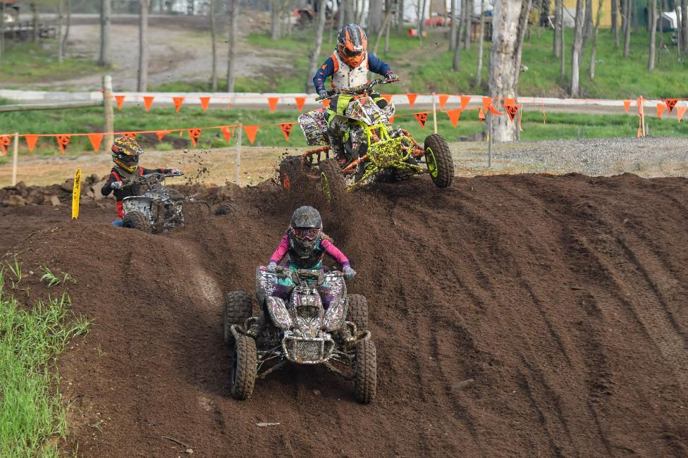 The youth ATVMX racers aren't afraid of a little battle either!