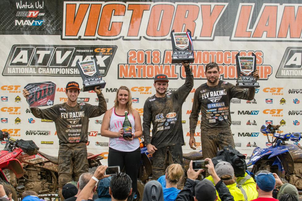Thomas Brown (center), Joel Hetrick (left) and Chad Wienen (right) rounded out the top three overall at RedBud.
