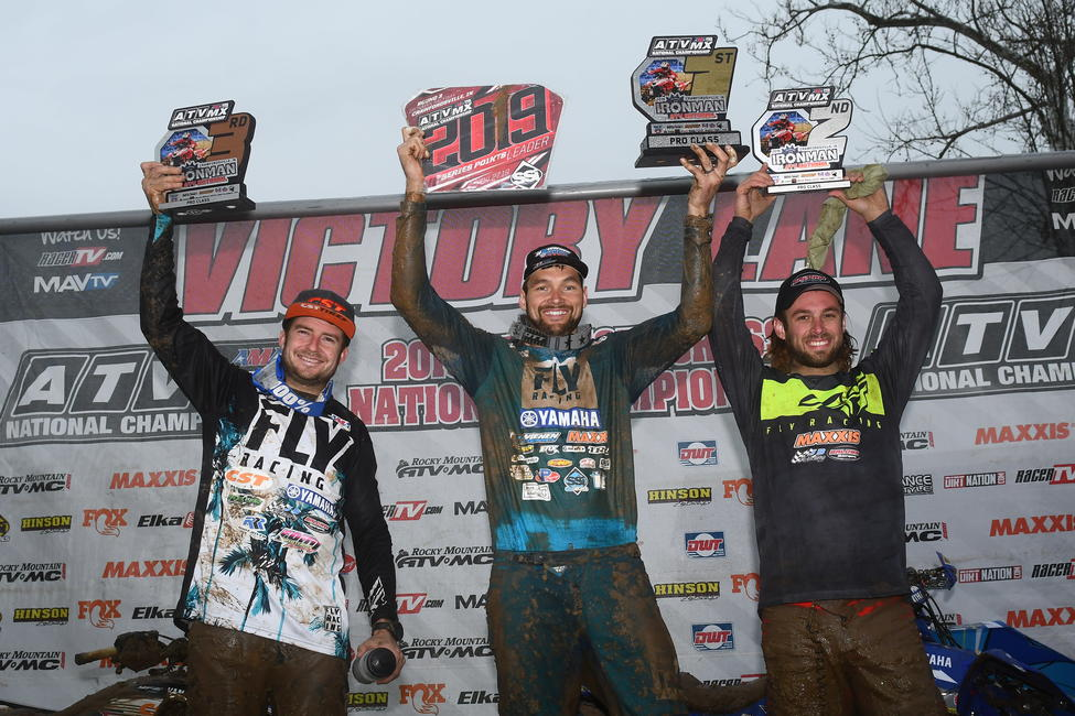 Chad Wienen (center), Jeffrey Rastrelli (right) and Thomas Brown (left) rounded out the Ironman ATVMX National top three overall.