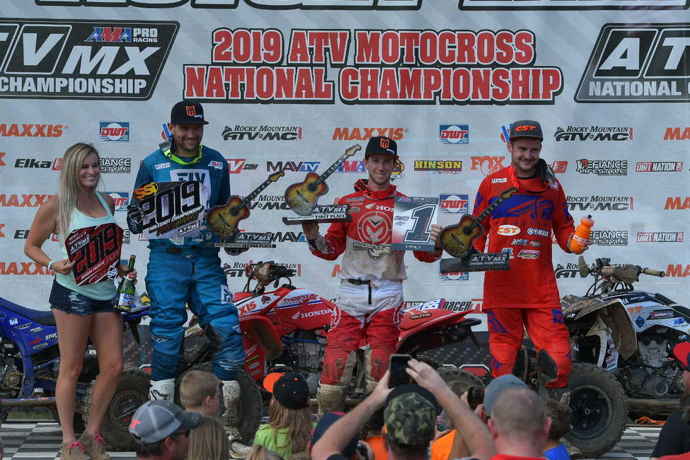 Hetrick (center), Wienen (left) and Brown (right) rounded out the Muddy Creek ATVMX National top three overall.