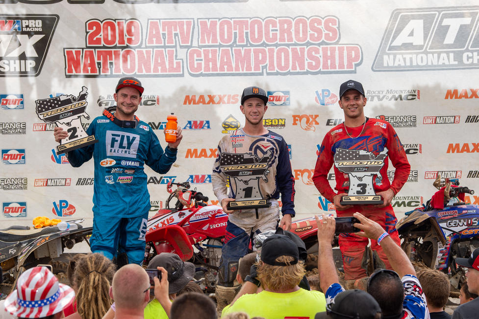 Hetrick (center), Brown (left) and Gennusa (right) rounded out the RedBud ATVMX overall podium.
