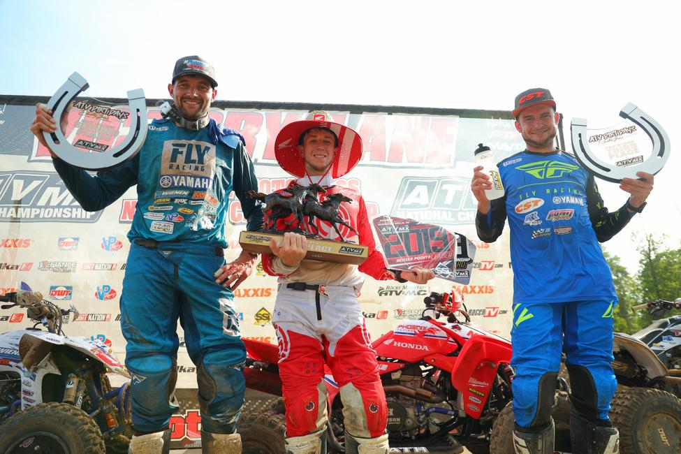Joel Hetrick (center), Chad Wienen (left) and Thomas Brown (right) rounded out the top three overall at ATV Dirt Days in Tennessee.